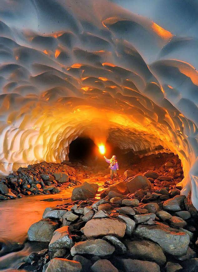 Ice Cave Near The Mutnovsky Volcano Russia Cave Love