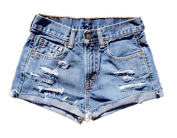 Levis Distressed High Waisted Cut Off Jean Shorts