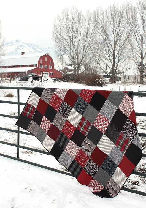 Black and Red plaid flannel quilt – Love this. She used 9″ squares to make the blocks