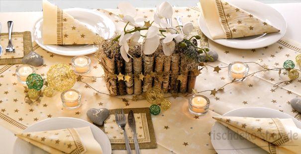 Tischdeko Weihnachten Stella Creme mit Birkendeko  Tischdeko Weihnachten  Pinterest  Weihnachten