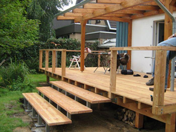 Erhöhte Holz Veranda Mit Überdachung Veranda Aus Holz
