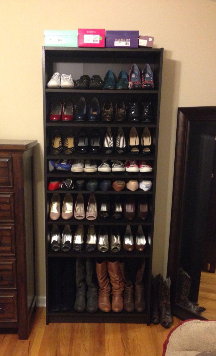IKEA Billy Bookshelf turned into a shoe rack Works beautifully  Home  Pinterest  Shelves