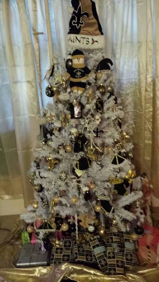 New Orleans Saints White Christmas Tree  My New Orleans Saints Diva Den  Pinterest  Christmas