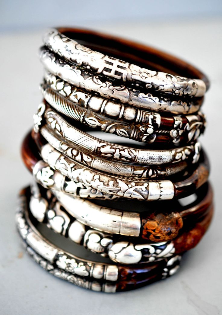 silver & wood bangle stack. brilliant