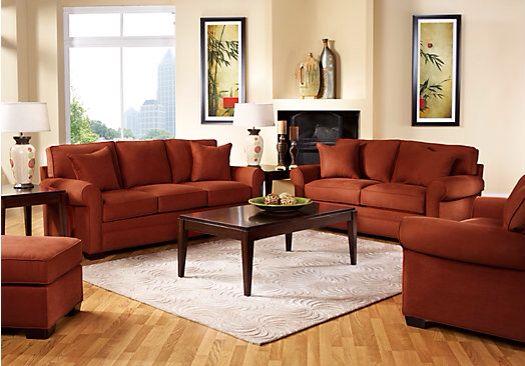 Burnt orange living room set  Decorating ideas