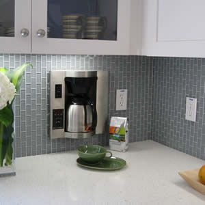 Love the vertical look  Lush 1x2 glass subway tile in Fog