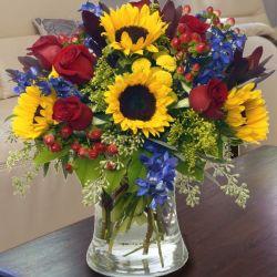 Sunflower Floral Arrangements   Sunflowers, Delphinium ...