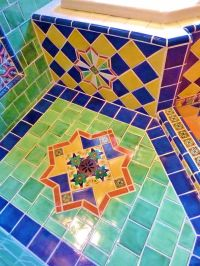 Moroccan themed bathroom shower floor using Turkish and ...