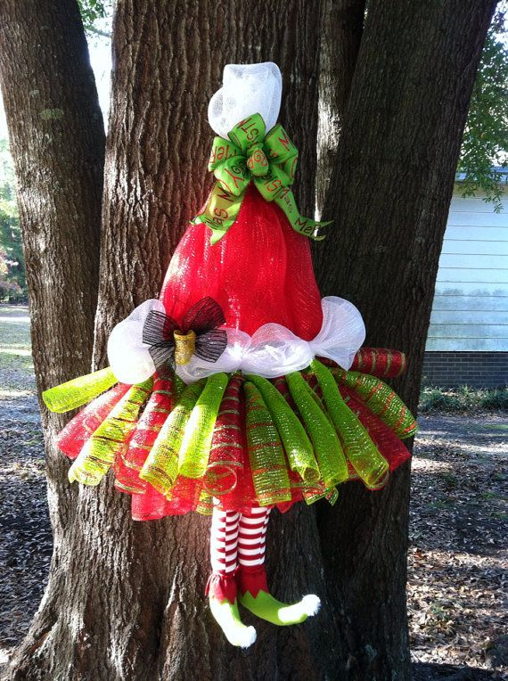 SALE Extra Large Whimsical Mrs Claus Tutu Wreath Santa Elf Legs  Santa Hat Deco Mesh Wreath