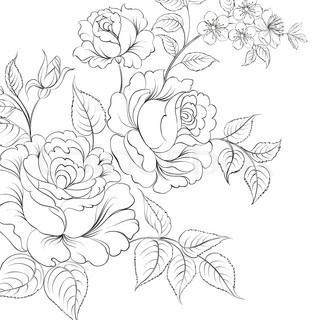Red rose in cartoon style for tattoo design Vector