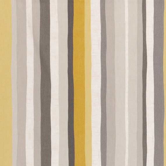 Yellow Grey Stripe Upholstery Fabric  Modern Abstract