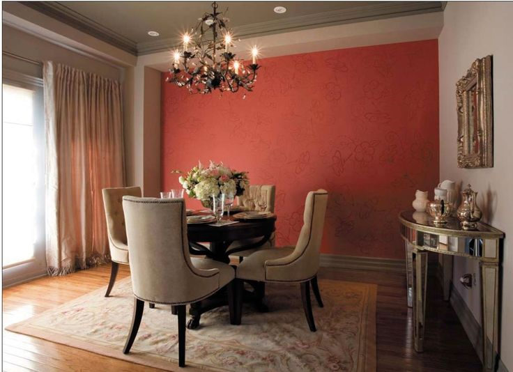 Accent Wall With A Tone-on-tone Stenciled Wallpaper Effect