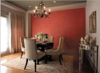 Accent wall with a tone-on-tone stenciled wallpaper effect ...