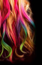 rainbow streaks hair