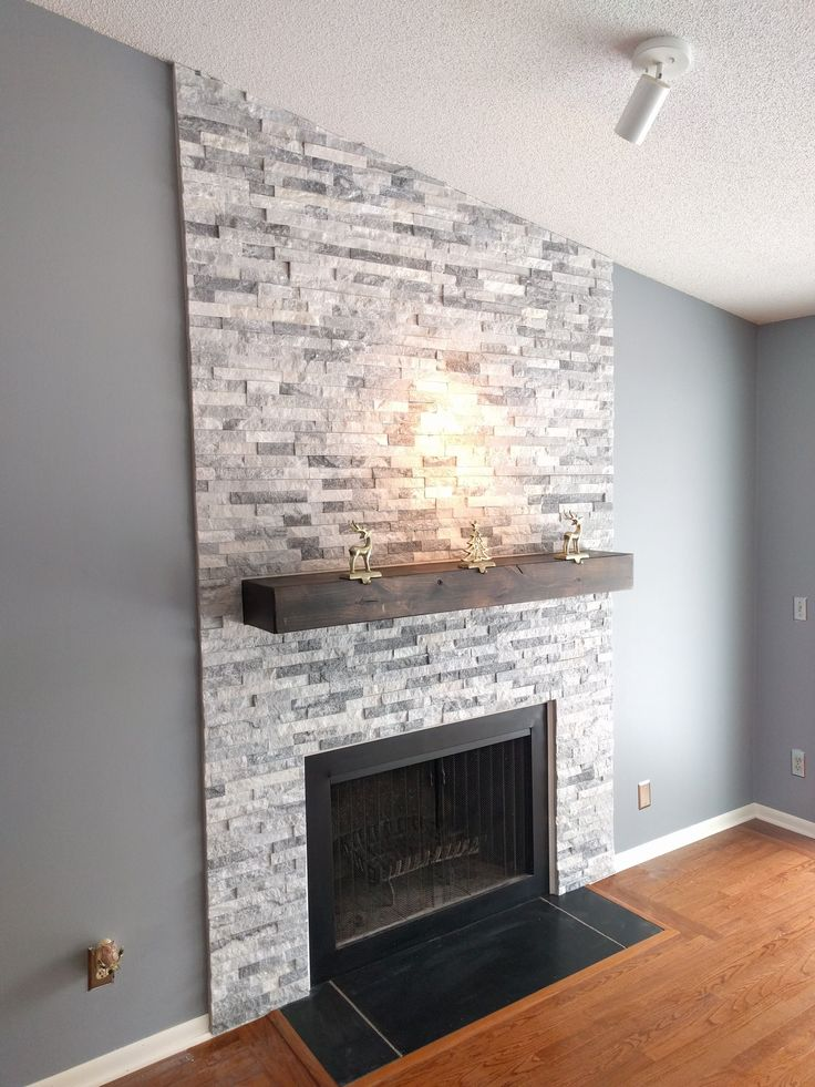 Stacked Stone Fireplace Diy Stacked Stone Veneer Fireplace