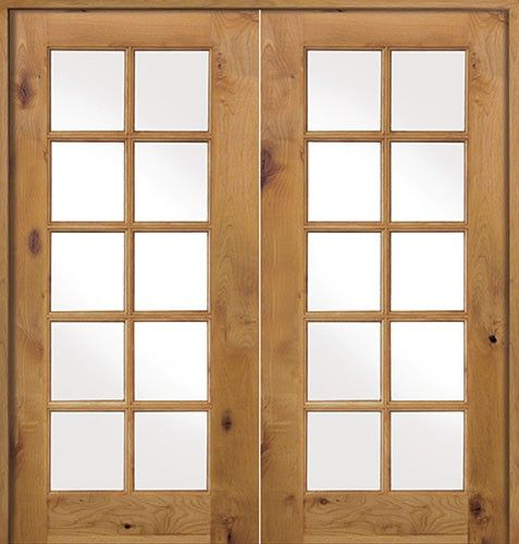 Interior French 10 Lite Knotty Alder Prehung Double Wood
