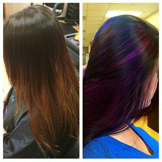 Faded Red Ombre Look Transformed To Dark Brown Hair With