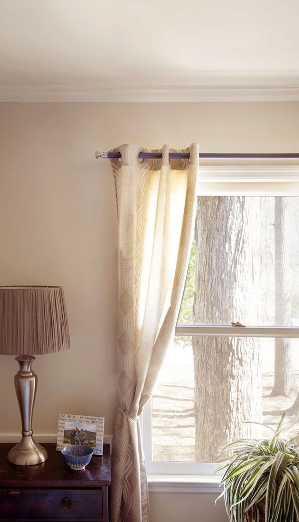 DIY Curtain Rod Using Cabinet Knobs and a Dowel Rod  Coats End of and Curtain rods
