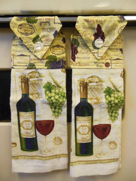 Wine Theme Kitchen Cork Wreath Hand Towels