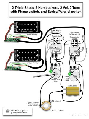 Seymour Duncan wiring diagram  2 Triple Shots, 2 Humbuckers, 2 Vol, 2 Tone (one with Phase