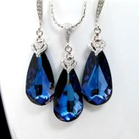 Swarovski Crystal Maliblue Earrings Necklace Set Sapphire