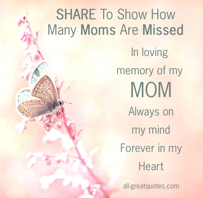In Loving Memory Cards For Mothers Day In My Heart