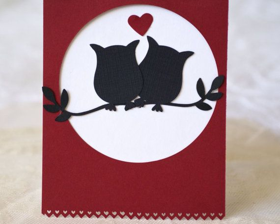 Valentine Owl Card Handmade Valentine Card by BayMoonDesign, $4.00