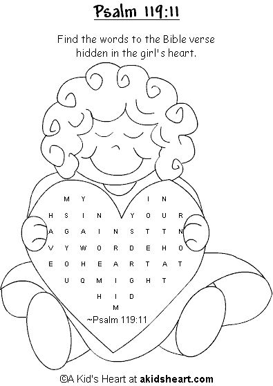 Bible Verse Activity Page to Print--Psalm 119:11