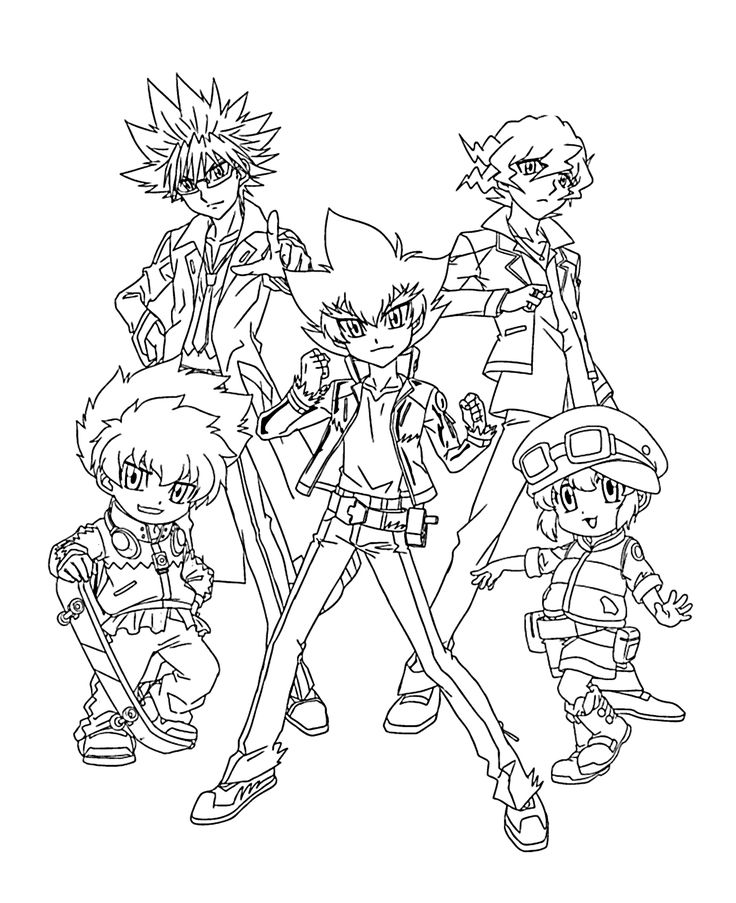 Beyblade team anime coloring pages for kids, printable