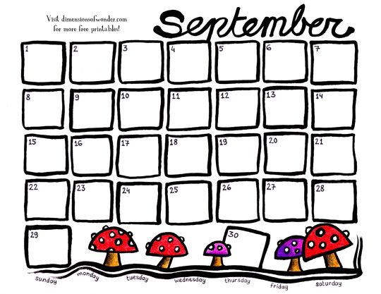 Free Printable Monthly Calendar September 2013