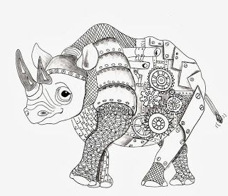 Efie goes Zentangle: Ben Kwoks Rhino * Coloring pages