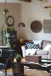 Living Room. A Brazilian cowhide rug, IKEA Aztec pillow ...