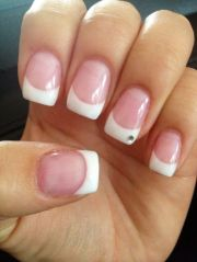 french tip gel nails with gem