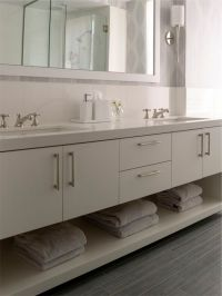 Modern bathroom vanity; rectangular sinks, 1.5""