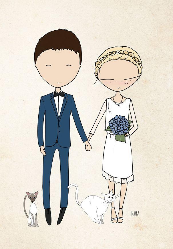 Blanka Biernat Custom Couple Illustration Giveaway Let S Party Pinterest Couple