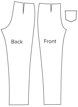 Diagram of pattern pieces of Slim Cut Trousers Sewing