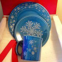 Fiesta Lapis Snowflake luncheon, salad plate & Java mug ...