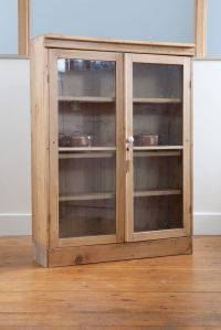 Antique Pine Display Cabinet With Glass Front