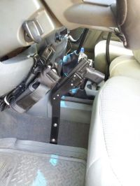 Truck holsters. Gun stand with Blackhawk holster I made