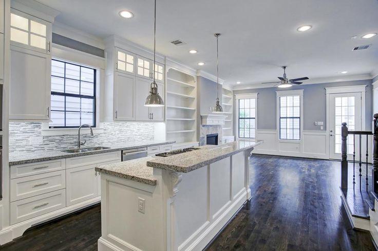 Subway tile backsplash White granite and Under cabinet on