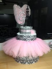 paris themed diaper cake baby