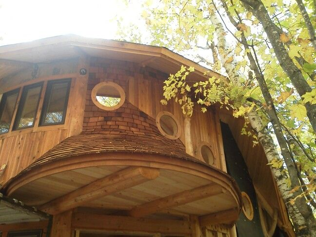 Circular convex roof with cedar shingles round windows and mirror on egg shaped building  The