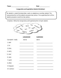Comparative and Superlative Adverb Worksheet | Englishlinx ...