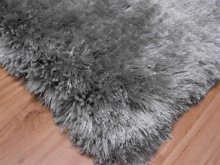 silver rugs  Plush Silver Shaggy Rug Plush Silver Shaggy