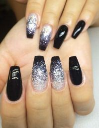 Black Ombr Glitter Coffin Nails | nail designs ...