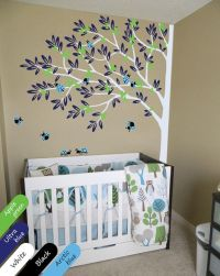 Nursery corner tree with ladybirds wall mural sticker ...