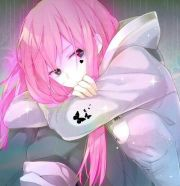pink haired anime girl sitting