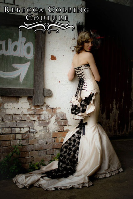 Burlesque wedding dress  Rebecca Cobbing Couture