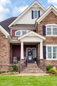 Decorative gables and windows add interest to this narrow ...