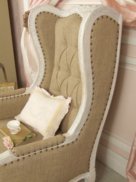 white washed burlap vintage chair  Master Bedroom Ideas
